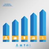 Infographic med tillväxtgrafen och symboler Royaltyfri Bild
