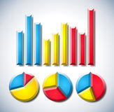 Infographic mit Diagramm und Kreisdiagrammen Lizenzfreie Stockfotos
