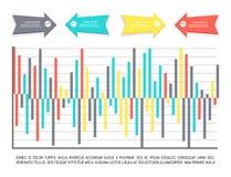 Infographic mit erläuterndem Text und Pfeilspitzen lizenzfreie abbildung