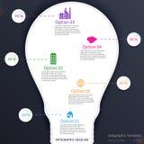 Infographic mit Glühlampe Stockfotos