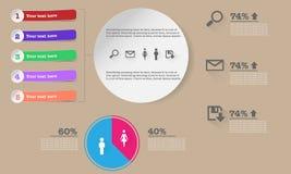 Infographic mit Knöpfen, Bändern, Diagrammen und Fahnen Stockfotos