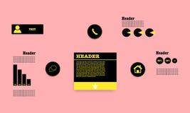 Infographic mit Knöpfen, Bändern, Diagrammen und Fahnen Stockfoto
