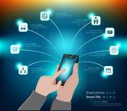 Infographic mobil användning och affärspresentation Royaltyfria Bilder