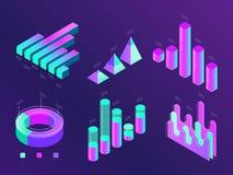 Infographic modern isometrisk affär Procentsatsdiagram, statistikkolonner och diagram Presentationsdiagram för data 3d vektor illustrationer