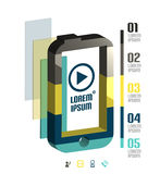 Infographic modern minsta mobiltelefon Arkivbild