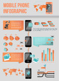 Infographic modern mobil telefon royaltyfri illustrationer