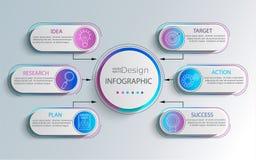 Infographic moderne créatif avec 6 étapes illustration stock