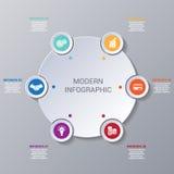 Infographic moderno numerado 6 opções Foto de Stock
