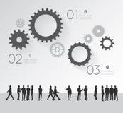 Infographic moderno para o projeto do negócio com povos da silhueta Imagens de Stock Royalty Free