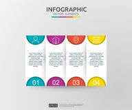 4 infographic moment timelinedesignmall med etiketten för papper 3D Affärsidé med alternativ För innehåll diagram, flödesdiagram, royaltyfri illustrationer