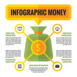 Infographic money dollar - vector concept scheme in flat style Stock Photo
