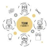 Infographic monocromático do trabalho da equipe com meio grupo do corpo de homens e de mulheres e de ferramentas do ícone ao redo ilustração stock
