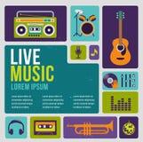 Infographic musik och symbolsuppsättning av instrument Arkivbild