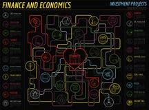 Infographic nationalekonomi och finans Investeringsobjekt grupper E royaltyfri illustrationer