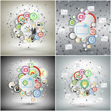 Infographic networks set with icons for business Royalty Free Stock Photo