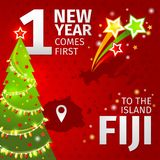 Infographic. New Year is coming first on the island of Fiji. Christmas tree and fireworks Stock Images