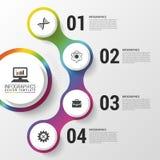 Infographic nowożytny projekta szablon Kolorowy okrąg z ikonami również zwrócić corel ilustracji wektora Zdjęcie Royalty Free