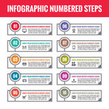 Infographic numbered steps. Infographic  concept. Infographic  template. Business infographic numbered blocks. Royalty Free Stock Image