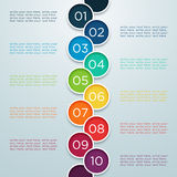 Infographic Numbers 1 to 10 In Overlapping Circles. Infographic numbers in 3d Circles 1 to 10 arranged colourfully on a gradient background with editable Stock Images