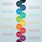 Infographic numera 1 a 10 em círculos de sobreposição Imagens de Stock