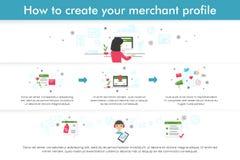 Infographic o dlaczego tworzyć handlarza profil Mieszkanie linii projekt Obrazy Stock