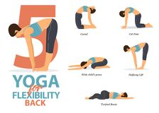 Free Infographic Of 5 Yoga Poses For Back Flexibility In Flat Design. Beauty Woman Is Doing Exercise For Body Stretching. Vector. Stock Images - 168135194
