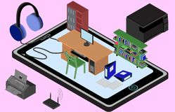 Infographic office on a cellphone. Isometric image of the workplace with table, wardrobe, bookshelf, printer, copier, fax. Stock Photos