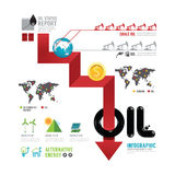 Infographic oil business of the world arrow concept with icons v Stock Photo