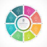 Infographic okrąg w cienkim kreskowym mieszkanie stylu Biznesowy prezentacja szablon z 8 opcjami ilustracja wektor