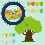 Infographic of old oak, acorn under the loupe. Infographic of old oak, acorn under the loupe stock illustration