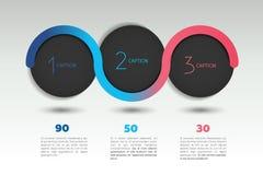 Infographic opci wektorowy sztandar z 3 krokami Kolor sfery, piłki, gulgoczą Zdjęcia Stock