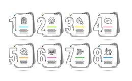 Infographic 8 opciones o diseños de la cronología de los pasos Infographics para el concepto del negocio Disposición del flujo de ilustración del vector