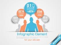 Infographic optio τρία επιχειρησιακών ατόμων πορτοκάλι 4 Στοκ Εικόνες
