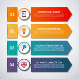 Infographic options banner with arrows and circle design elements. Vector template with 4 steps, parts vector illustration