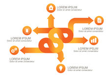Infographic orange arrows with round icons, vector background te stock illustration
