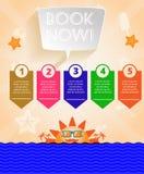 Infographic orange d'heure d'été, avec le texte de réservez dès maintenant, les icônes et les accessoires de voyage Image stock