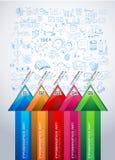 Infographic orientering för idékläckningbegreppsbakgrund med grafer Arkivbilder