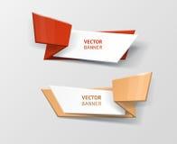 Infographic Origamifahnen des Vektors eingestellt Stockfotografie