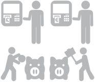 Infographic oszczędzania wydatków charaktery Zdjęcie Royalty Free
