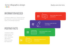 Infographic page template design. Useful for presentation, web design or advertisement. Colorful bars with icons. Royalty Free Stock Photo