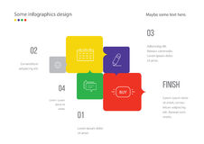Infographic page template design. Useful for presentation, web design or advertisement. Colorful squares with icons. Stock Photo