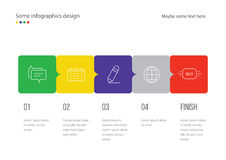 Infographic page template design. Useful for presentation, web design or advertisement. Colorful squares with icons. Stock Photography