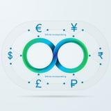 Infographic para a aquisição de dinheiro infinita com listra de Mobius ilustração do vetor