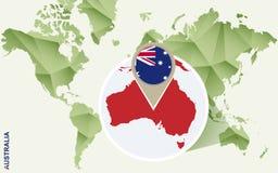 Infographic para Austrália, mapa detalhado de Austrália com bandeira ilustração stock