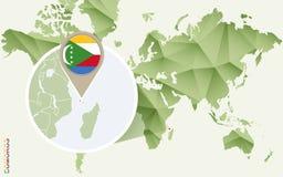Infographic para Comores, mapa detalhado de Comores com bandeira ilustração do vetor