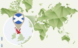 Infographic para Escócia, mapa detalhado de Escócia com bandeira ilustração do vetor