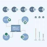 Infographic para estudiar, aprender, la distancia y la educación en línea, tutoriales video Ilustración del vector Imágenes de archivo libres de regalías