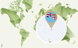 Infographic para Fiji, mapa detalhado de Fiji com bandeira ilustração do vetor