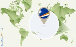 Infographic para Marshall Islands, mapa detalhado de Marshall Islands com bandeira ilustração royalty free