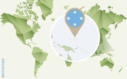 Infographic para Micronésia, mapa detalhado de Micronésia com bandeira ilustração royalty free